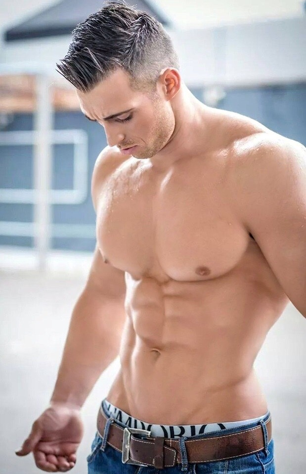 Six pack abs strong chest sexy stock photo