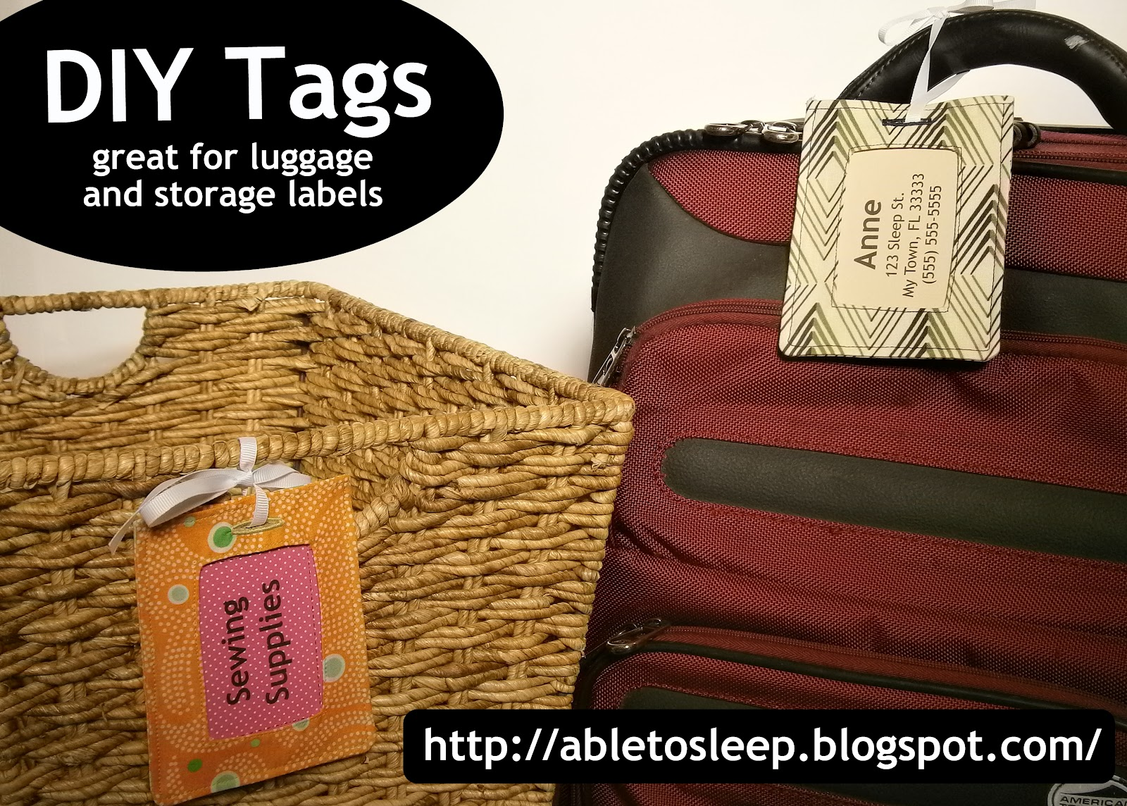 Luggage Tags: Able To Sleep: Luggage (or Decorative) Tag Tutorial