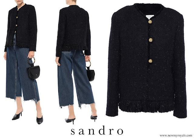 Crown Princess Mary wore Sandro Fringe trimmed metallic tweed jacket
