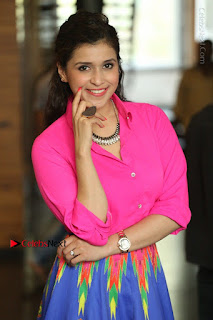 Actress Mannar Chopra in Pink Top and Blue Skirt at Rogue movie Interview  0073.JPG