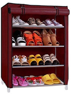 Ebee Store Shoe Rack with 4 Shelves (Maroon) - Online Trade DD