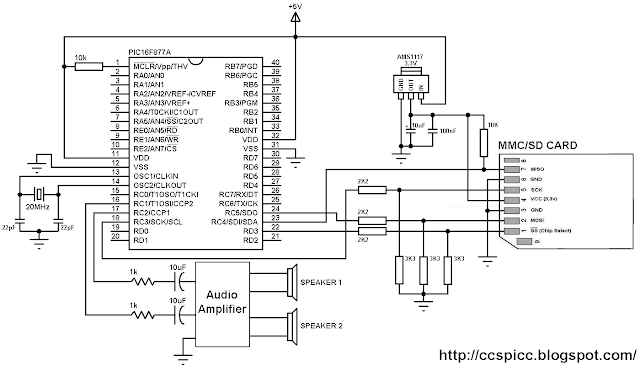 WAV player using PIC16F877A and SD card circuit