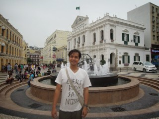 A photo in front of the fountain at Largo do Senado in Macau