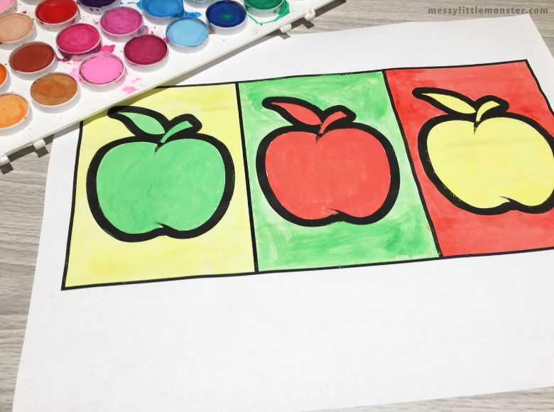 pop art apple craft for kids