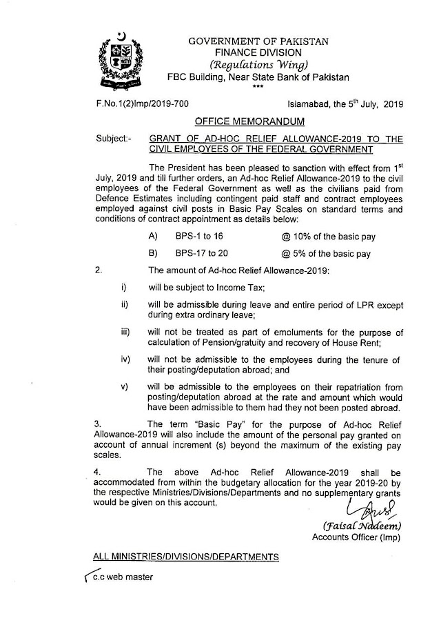 GRANT OF ADHOC RELIEF ALLOWANCE TO THE CIVIL EMPLOYEES OF THE FEDERAL GOVERNMENT
