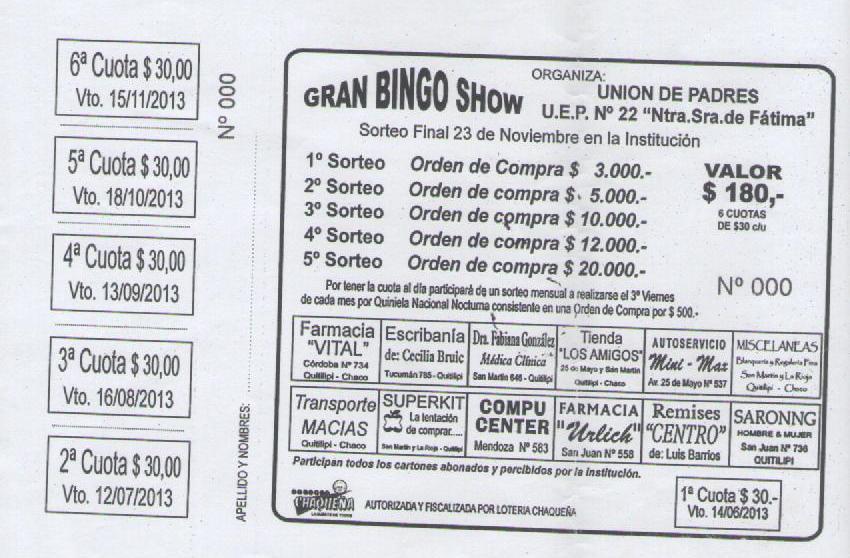 """Bingo Show Dia De La Madre Viernes 11 De Mayo: U.E.G.P. Nº 22 """"Nuestra Señora De Fátima"""": Mayo 2013"""