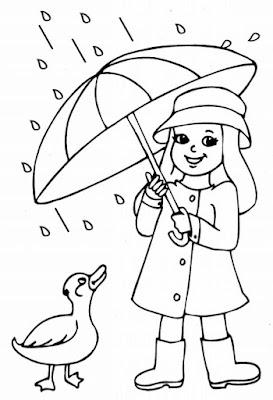 Hình tô màu bé chơi dưới mưa