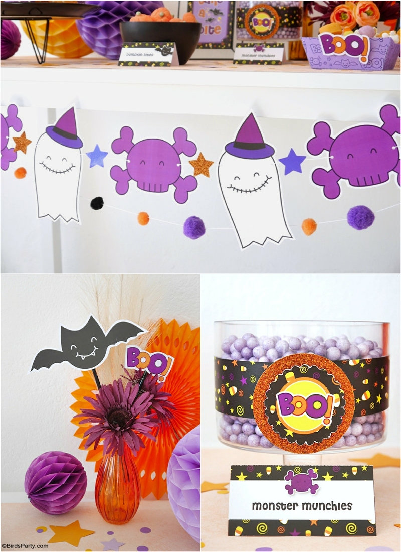 Our Cute Candy Corn DIY Halloween Party - not so scary, quick, easy and budget ideas for styling a kids Halloween party at home with fun printables! by BirdsParty.com @Birdsparty #halloween #diyhalloween #halloweendecor #kidshalloween #notsoscaryhalloween #halloweenparty #partyideas #candycorn #cutehalloweendecor #diyhalloweendecorations #halloweenprintables