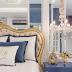 Suíte branca, dourada e azul com decor clássico + closet e banheiro abertos!