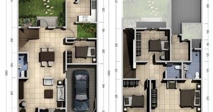 lingkar warna: denah rumah minimalis ukuran 8x20 meter 4