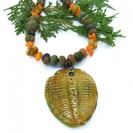 trilobite pendant necklace.