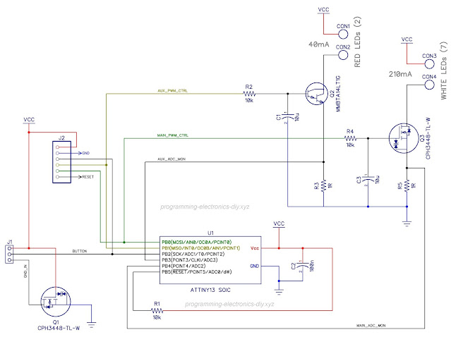 Constant current LED driver using microcontroller schematic