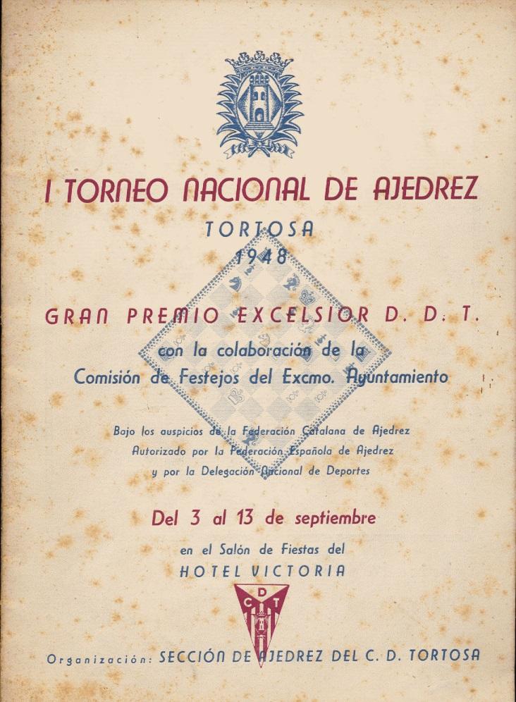 Portada del Boletín del I Torneo Nacional de Ajedrez de Tortosa 1948