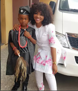 Nollywood actress Mercy Aigbe and son micheal