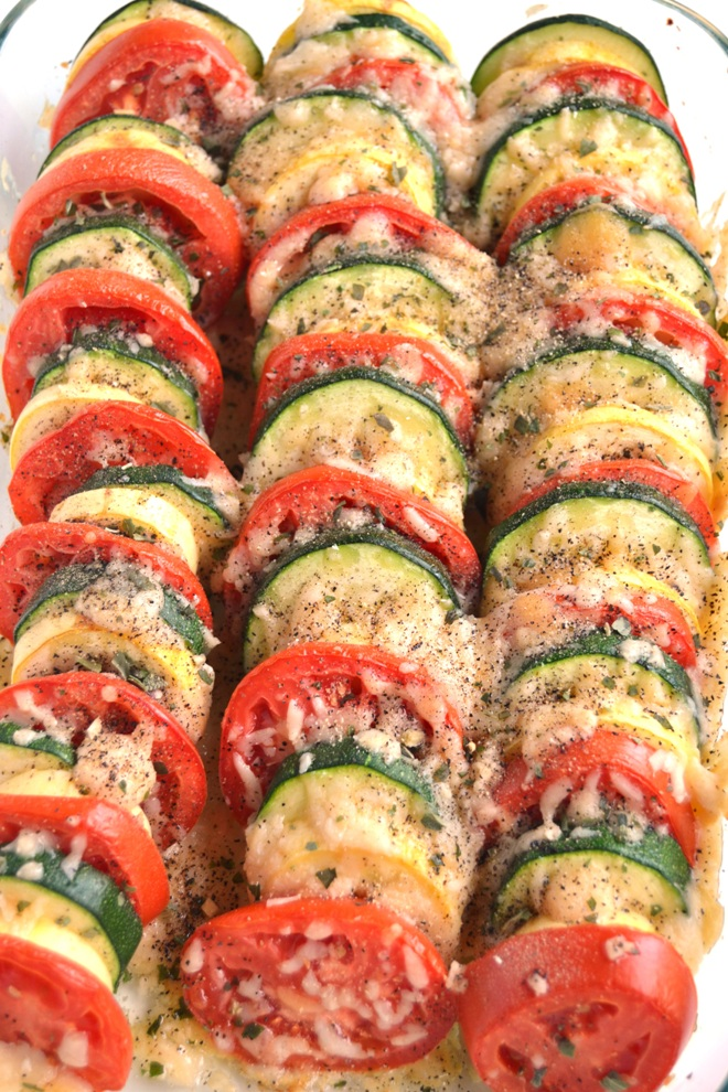 Parmesan Tomato Zucchini Bake - Parmesan Tomato Zucchini Bake is a simple recipe with layered fresh tomatoes, zucchini and summer squash topped with garlic, onions and parmesan cheese!