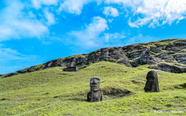Moais semienterrados na encosta do Vulcão Rano raraku, onde as famosas estátuas da Ilha de Páscoa eram esculpidas