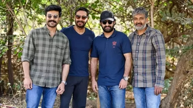 Jr. NTR Ram Charan Ajay Devgn S.S. Rajamouli in RRR movie