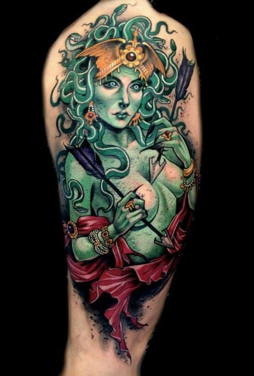 Green-Medusa-with-Crown-and-Arrows-Tattoo