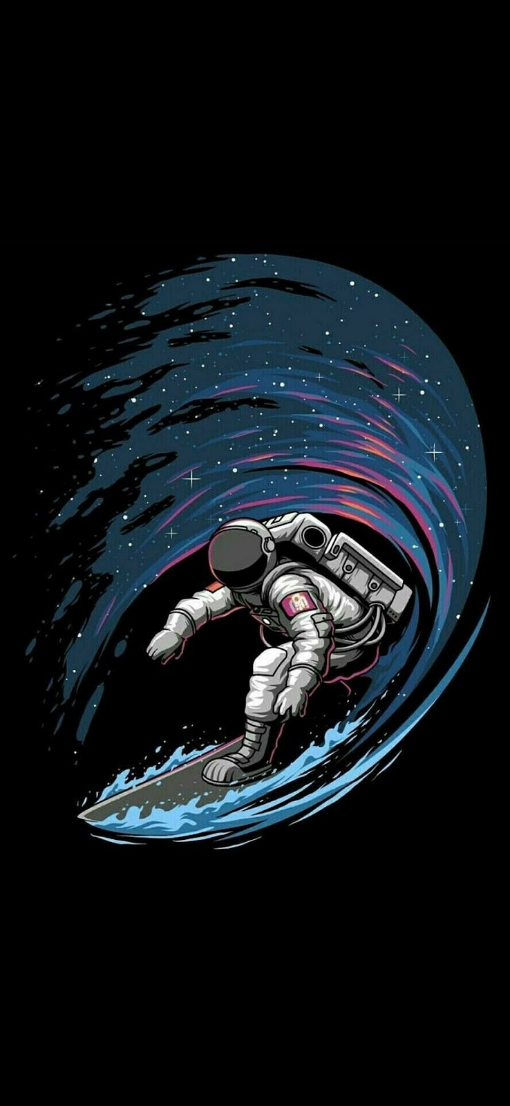 Astronaut Surfing in space Mobile Wallpaper