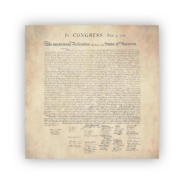 United States Declaration of Independence with a Parchment Paper Background