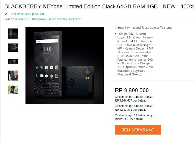harga Blackberry KeyOne 2017