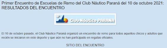 ENCUENTRO DE REMO DEL CLUB NAUTICO PARANA DEL 19/10/2021