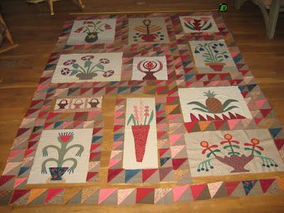 auditioning sashing for Linda Brannock's Flowers quilt