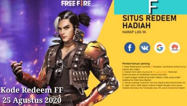 Kode Redeem FF 25 Agustus 2020❗ Buruan Klaim Diamond Free Fire Gratis Hari Ini