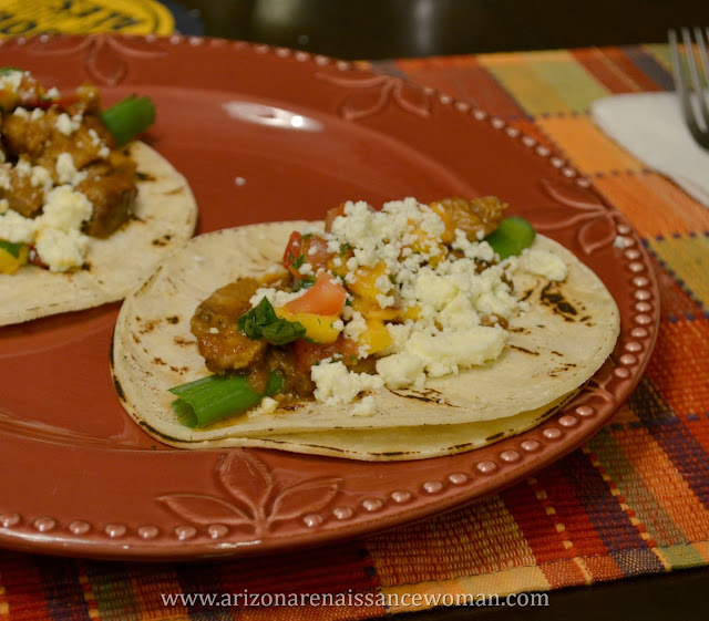 Smoked Pork Shoulder Tacos with Ancho-Bourbon Sauce and Fresh Peach-Habanero Salsa