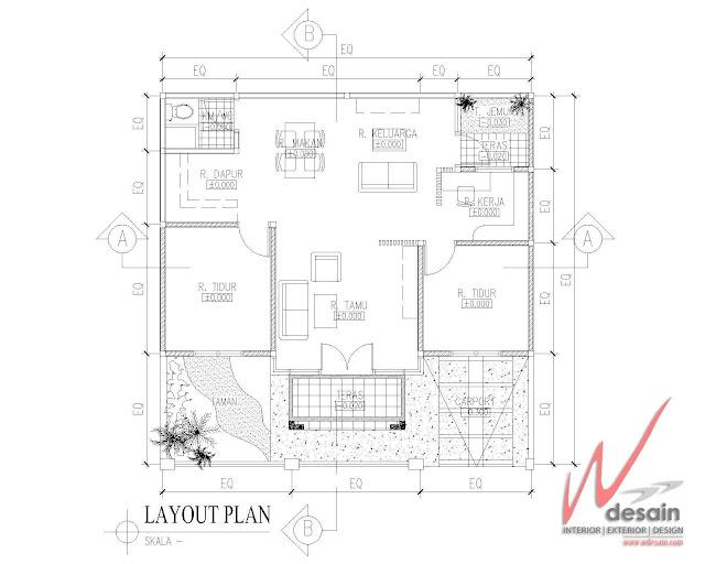 Interior Rumah Minimalis 2 Kamar Tidur dan Ruang Kerja