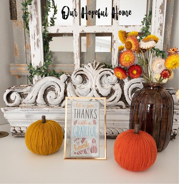 gold yarn pumpkin frame mantel fall decor