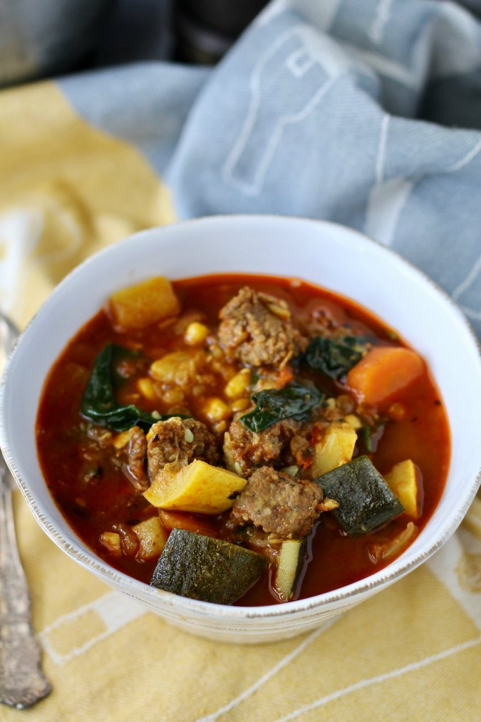 Summer Vegetable Sausage and Lentil Soup