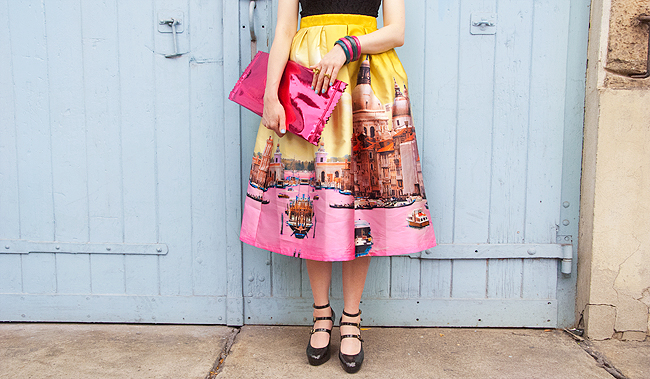 LM Lulu, print skirt, candy clutch
