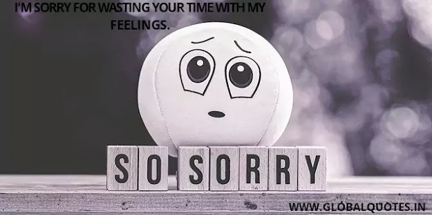 I'm sorry for wasting your time with my feelings