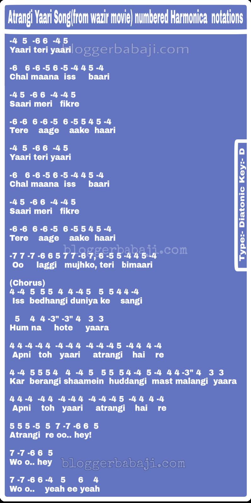 harmonica songs of atrangi yaari bollywood song | easy