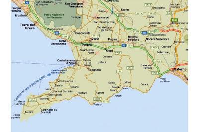 Map Italy Amalfi Coast Costiera Amalfitana