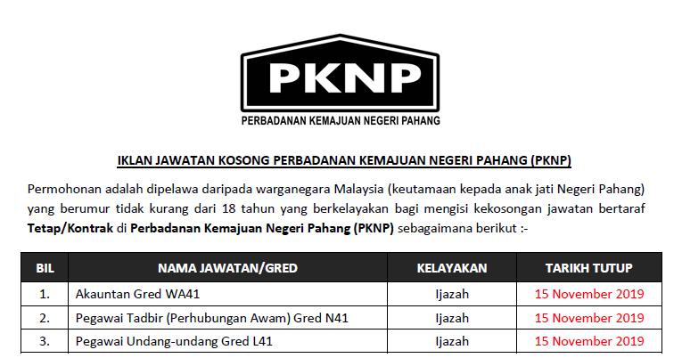 Perbadanan Kemajuan Negeri Pahang Pknp Iklan Jawatan Kosong 2019