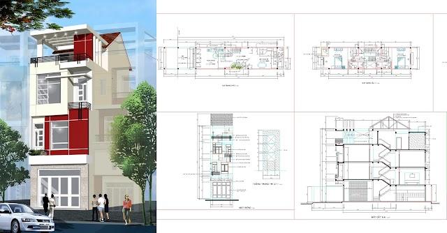 Bản vẻ cad nhà phố lệch tầng 4-15 mét full kiến trúc và kết cấu