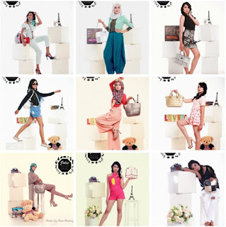 fashion ; kemeja, jilbab (pashmina, jilbab segi empat, dalaman jilbab), kaos, gamis, jeans, rok, gaun, cardigan, underwear, celana bahan, celana jeans, sepatu (heels, wedges, flat shoes)
