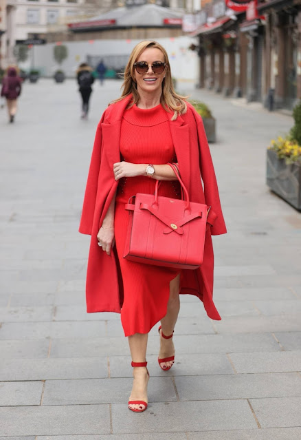 Amanda Holden – All in red at Heart Radio Studios in London