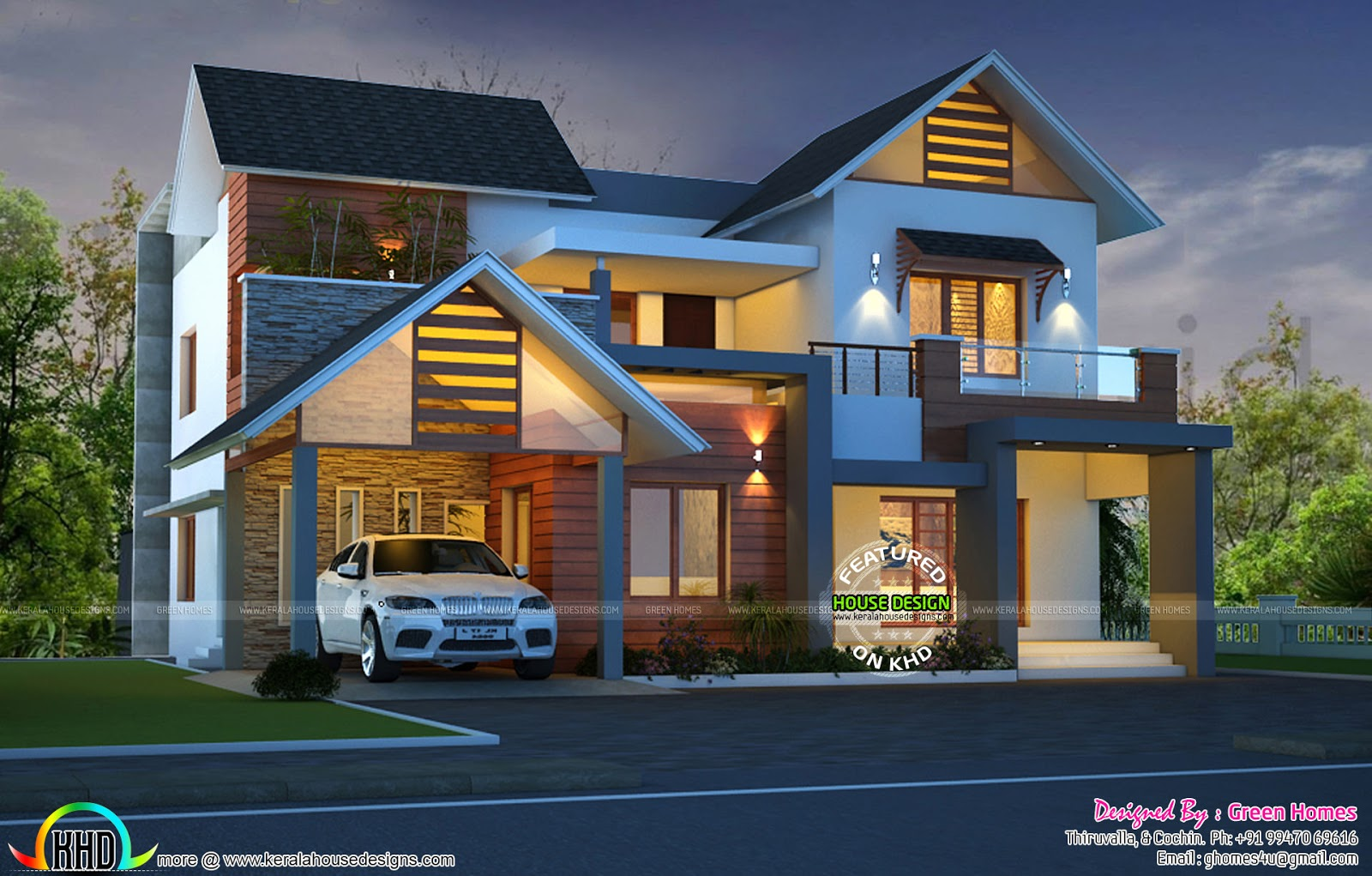 Merveilleux Cute Night View Kerala Home Design
