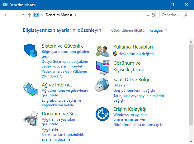 Windows'da Denetim Masası kategori