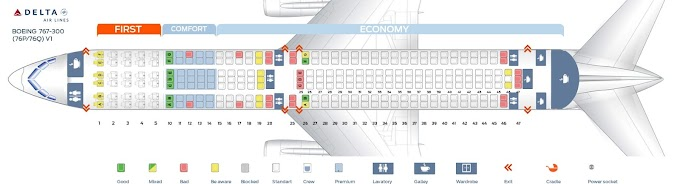 ✓ Beautiful Delta Boeing 767-300 Seat Map
