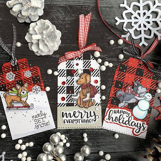 Merry Everything by Bobbi features Winter Woofs, Sentiments of the Season, and Gingham by Newton's Nook Designs; #newtonsnook