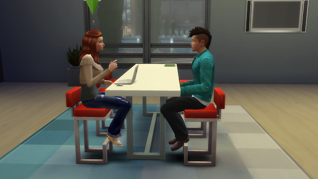 Screen grab of two sims sitting at a table talking in sims 4