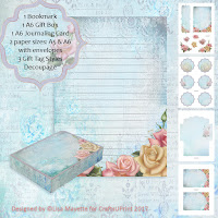 Rococo Roses Romantic Floral Stationery Set Decoupage Kit