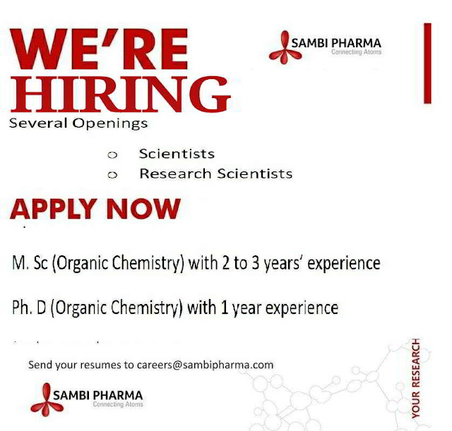 Sambi Pharma - Urgent Openings for Scientists / Research Scientist