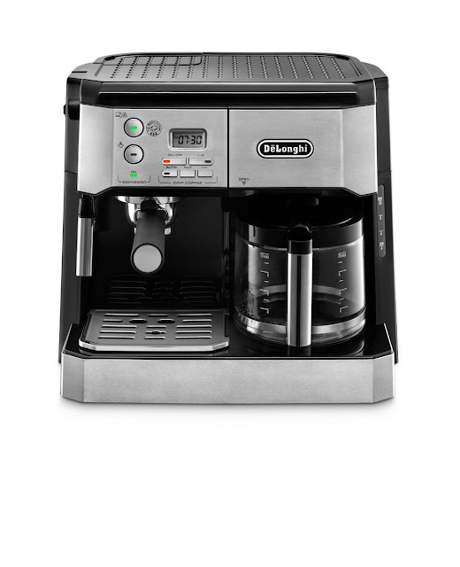 DeLonghi BCO430 Combination Pump Espresso and 10-cup Drip Coffee Machine with Frothing Wand, Silver, and Black