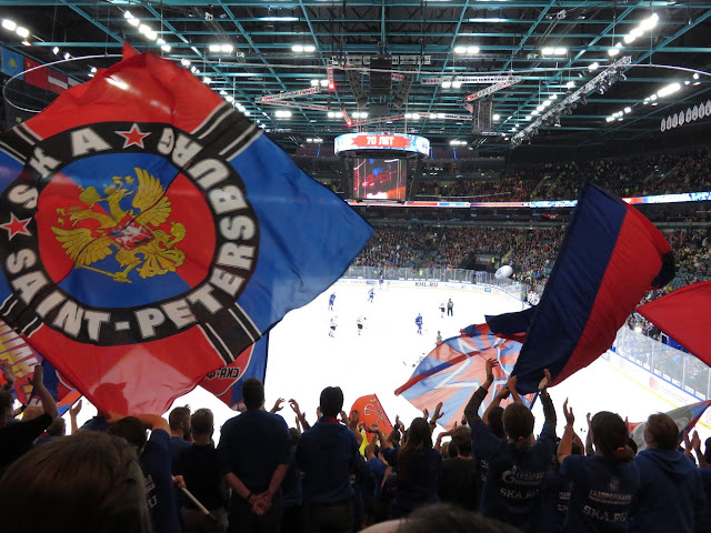 St. Petersburg SKA fans wave flags (ice hockey)
