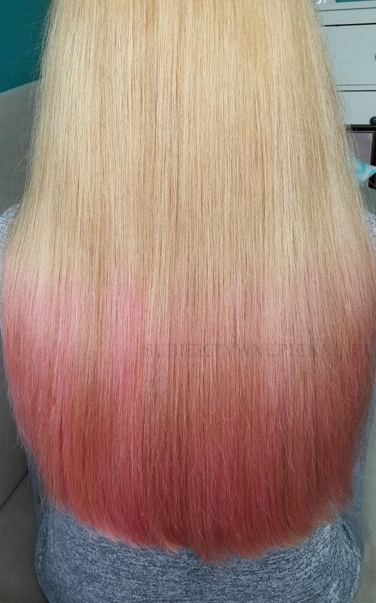 Joanna Color Spray  róż efekty na włosach blond. Jak uzyskać różowe ombre?